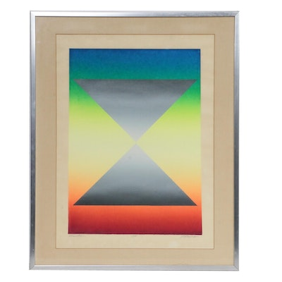 "Geometric Op Art Serigraph ""Formation"", Mid-20th Century"