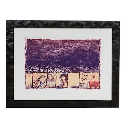 """Pierre Alechinsky Double-Page Color Lithograph for """"Derrière le Miroir,"""" 1981"""