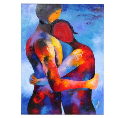 "Oluwakemi Omowaire Oil Painting ""Embrace"""