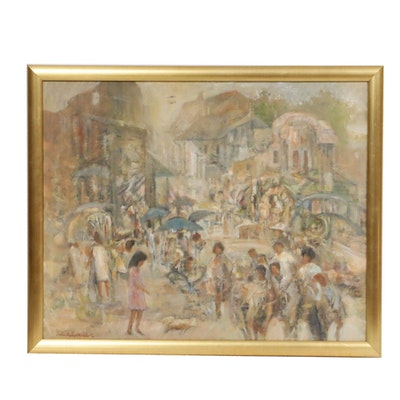 John Robert Willer Impressionist Style Street Scene Oil Painting, 20th Century