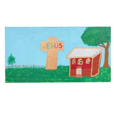 Folk Art Religious Mixed Media Painting