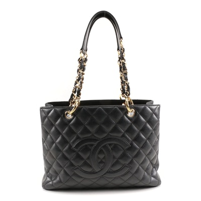 Chanel Grand Shopping Tote Bag in Black Quilted Caviar Leather