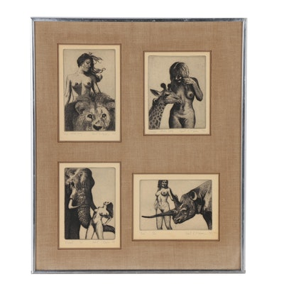 Robert R. Malone Etchings of Female Nudes Posed with Animals