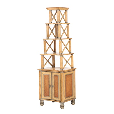 Painted Wood and Faux Bamboo Open Shelf Display Cabinet