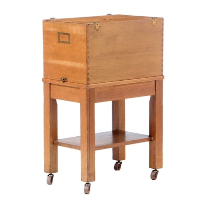 American Oak Lift-Lid File Box-on-Stand, Early 20th Century