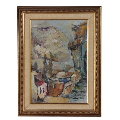 "Baruch Elichai Oil Painting ""'Safed' the Town of the Mistics"""