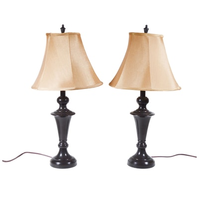 Pair of Bronze Tone Metal Table Lamps, Contemporary
