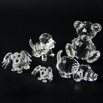 Swarovski Crystal Teddy Bear Figurine and Dog Figurines