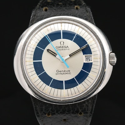 Vintage Omega Geneve Dynamic Stainless Steel Automatic Wristwatch