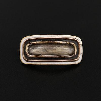Victorian 10K Gold Memento Mori Hair, Enamel and Acrylic Brooch