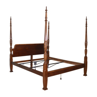 Carved Wood Four Poster King Size Bed, Late 20th Century