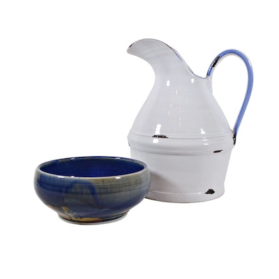 Italian Pottery Pitcher and Artisan Pottery Bowl