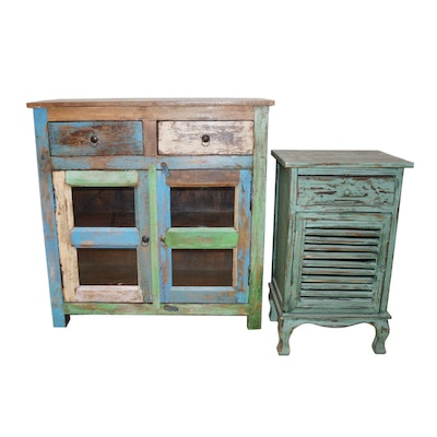 Multi-Tone Distressed Rustic Cabinet and Louvered Door End Table, Contemporary