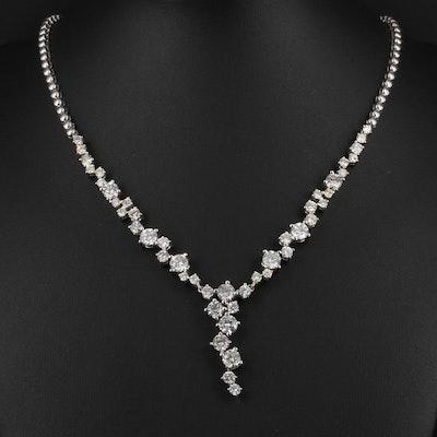 14K White Gold 9.08 CTW Diamond Necklace