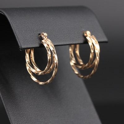 14K Yellow Gold Twisted Triple Hoop Earrings