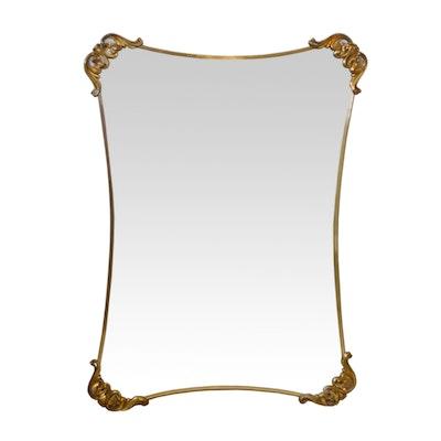 Hollywood Regency Style Brass Edged Wall Mirror, 1950s