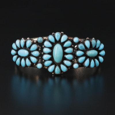 Southwestern Leo Feeney Sterling Turquoise Cuff Bracelet