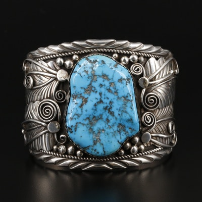 Fannie Platero Navajo Diné Sterling Silver Turquoise Cuff Bracelet