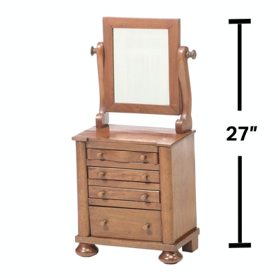William IV Mahogany Miniature Chest of Drawers with Mirror, Mid 19th Century