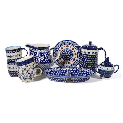 Boleslawiec Polish Pottery Pitcher, Teapots, Relish Tray and Other Dinnerware