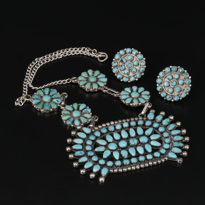 Southwestern Style Sterling Silver Turquoise Necklace and Earrings