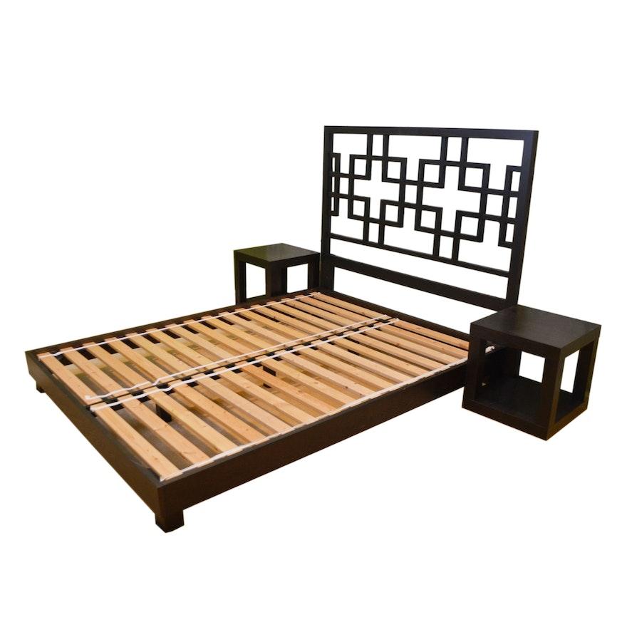 Contemporary Queen Espresso Platform Bed and End Tables