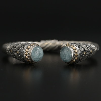 Sterling Silver Aquamarine Bali Style Hinged Bracelet with 18K Accents
