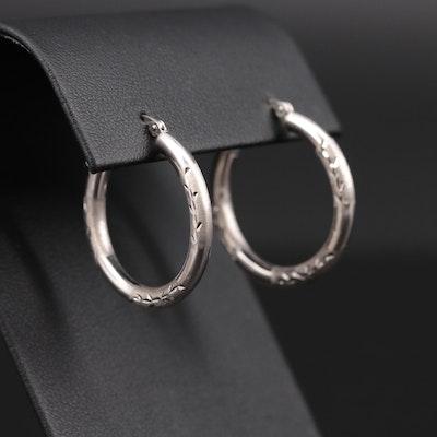 14K White Gold Diamond Cut and Brushed Hoop Earrings