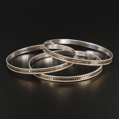 Anna Beck Sterling Silver Bangle Bracelet Set