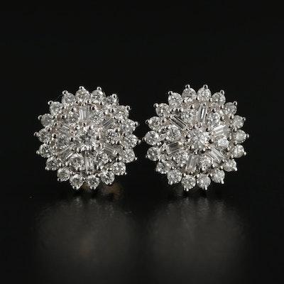 14K White Gold 1.00 CTW Diamond Cluster Earrings