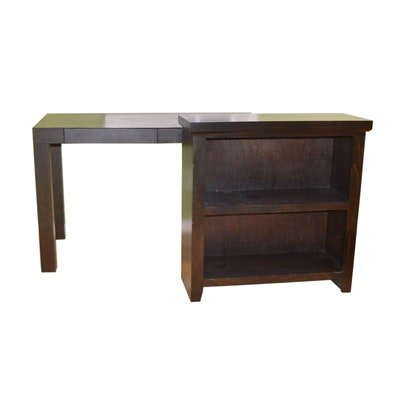 Contemporary Two Drawer Espresso Desk and Bookcase