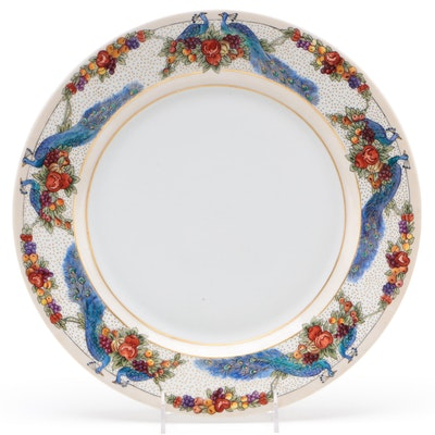 Edna R. Berard Czechoslovakian Porcelain Charger with Peacock Motif, 1922