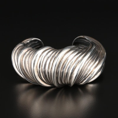 Judith Leiber Sterling Silver Textured Cuff Bracelet