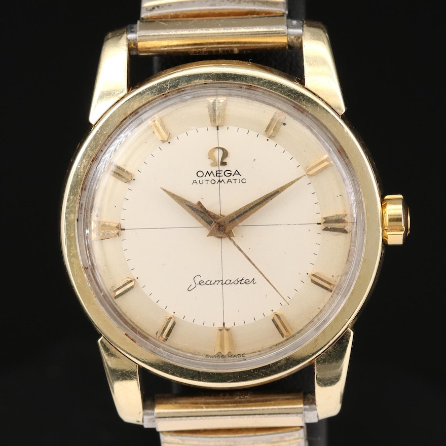 Omega Seamaster Gold Tone Stainless Steel Automatic Wristwatch
