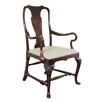 Queen Anne Style Walnut Armchair, Late 20th Century
