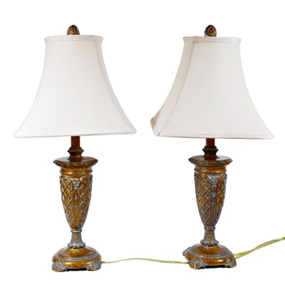 Pair of Bronze Finish Resin Table Lamps, Contemporary