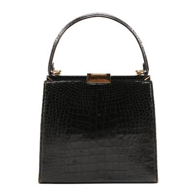 Lucille de Paris Black Alligator Top Handle Frame Bag, 1950s Vintage