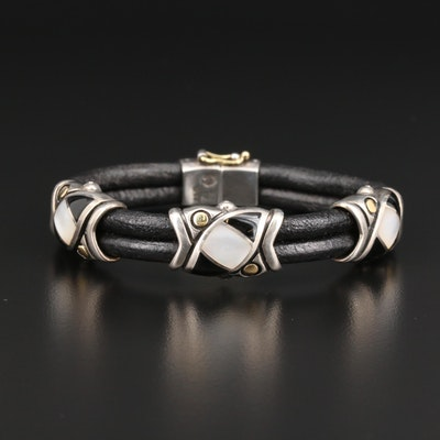 Eric Grossbardt Sterling Mother of Pearl and Black Onyx Bracelet with 18K Accent