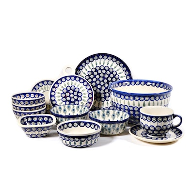 "Boleslawiec Polish Pottery ""Peacock Leaves"" Large Bowl, Dinnerware and More"