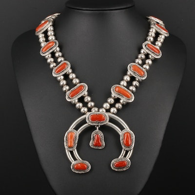 Southwestern Style Sterling Silver Coral Naja Pendant Necklace