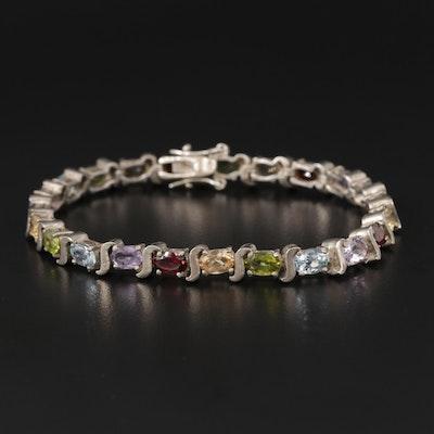 Sterling Silver Multi-Gemstone Line Bracelet