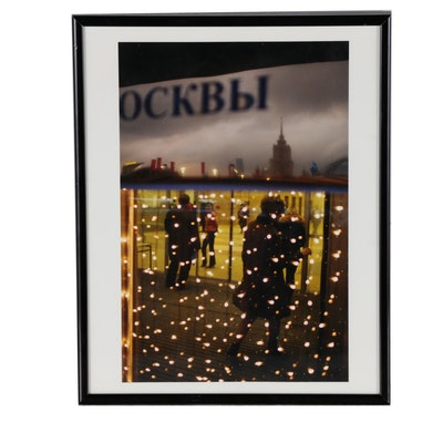 "Donald Weber Photograph ""Drunken Bride (In Moscow) Christmas Lights"""