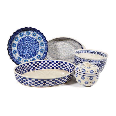 Boleslawiec Polish Pottery Fluted Quiche, Oval Serving Platter and More