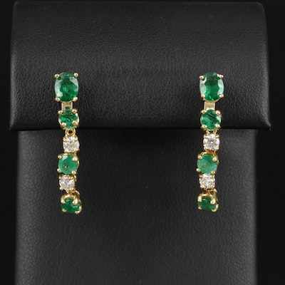 14K Yellow Gold Emerald and Diamond Dangle Earrings