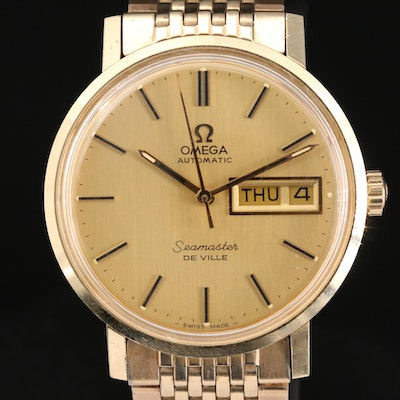 Omega Seamaster DeVille 14K and Stainless Steel Automatic Wristwatch, Vintage