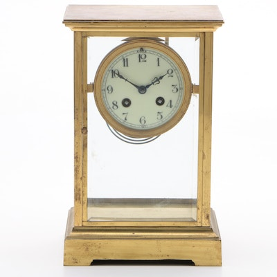 Japy Frères Gilt Metal Four Glass Chiming Mantel Clock, Late 19th Century