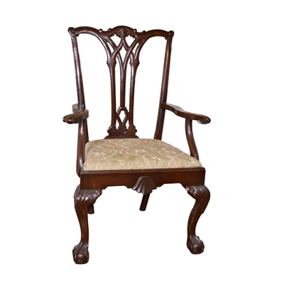 Chippendale Style Walnut Armchair, Late 20th Century
