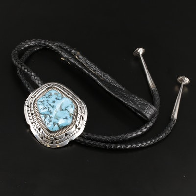 Linnie Linkin Navajo Diné Sterling Silver Turquoise Bolo Tie