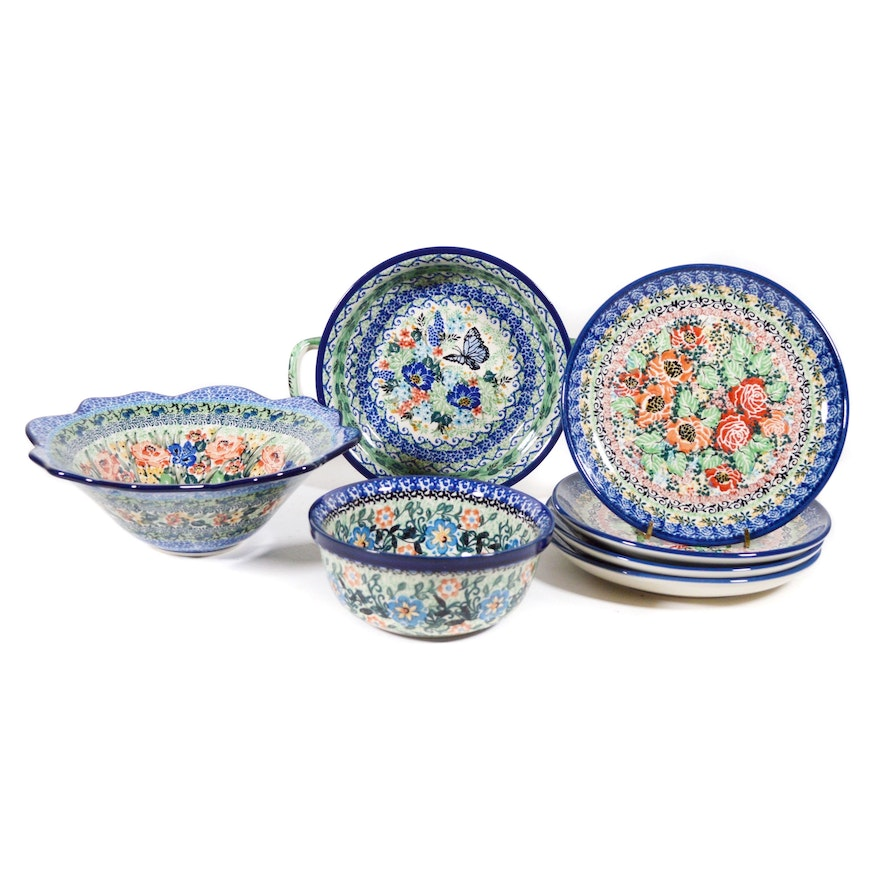Boleslawiec Polish Pottery Floral Serving Bowls and More
