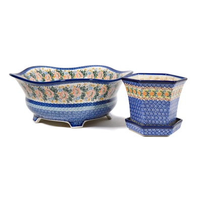 "Boleslawiec Polish Pottery Limited Edition ""Whisper of Love"" Bowl and Planter"